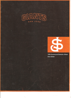 1994 San Jose Giants Scorecard