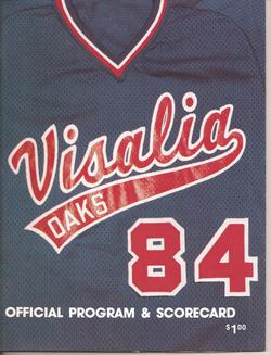 1984 Visalia Oaks Program
