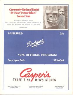 1975 Bakersfield Dodgers Program