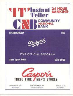 1973 Bakersfield Dodgers Program