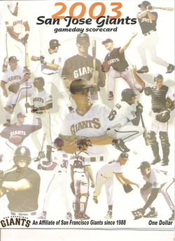 2003 San Jose Giants Scorecard