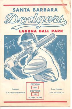 1947 Santa Barbara Dodgers Scorebook