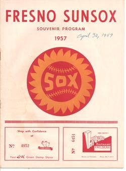 1957 Fresno Sun Sox Program