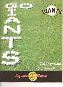 2001 San Jose Giants Scorecard