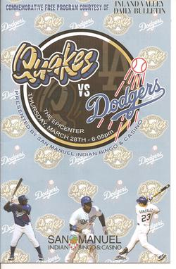 Quakes vs Dodgers Exhibition Program