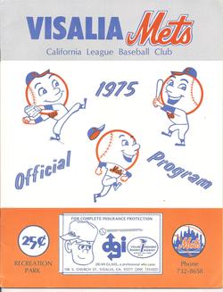 1975 Visalia Mets Program