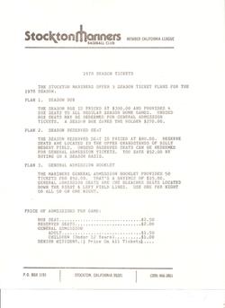 1978 Stockton Mariners Season Ticket