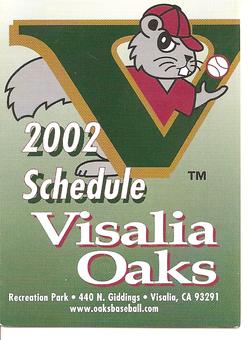 2002 Visalia Oaks Schedule