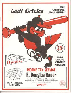 1974 Lodi Orioles Program