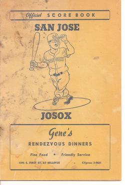 1957 San Jose JoSox Scorebook