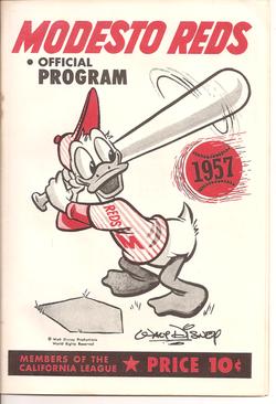 1957 Modesto Reds Program