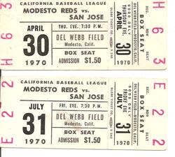 1970 Modesto Reds Ticket Stubs