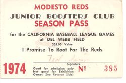 1974 Modesto Reds Season Pass