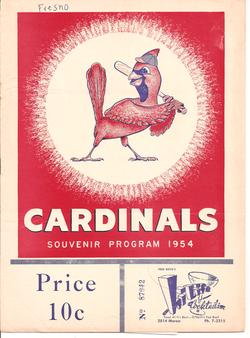 1954 Fresno Cardinals Program