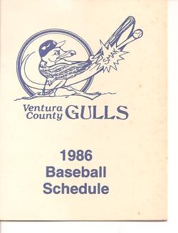 1986 Ventura County Gulls Schedule