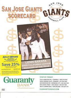 2006 San Jose Giants Scorecard
