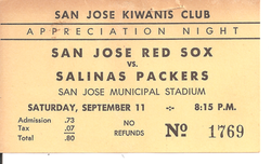 1954 San Jose Red Sox Ticket