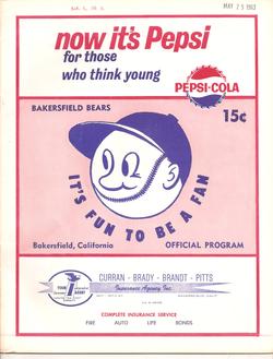 1963 Bakersfield Bears Program