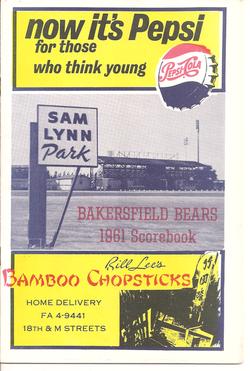 1961 Bakersfield Bears Scorebook