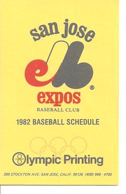 1982 San Jose Expos Schedule