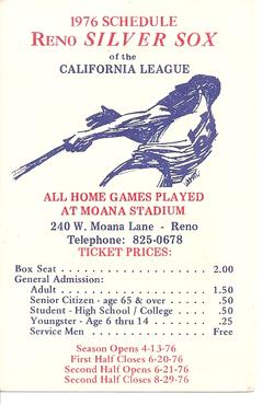 1976 Reno Silver Sox Schedule