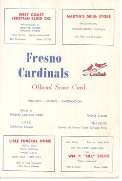 1948 Fresno Cardinals Program