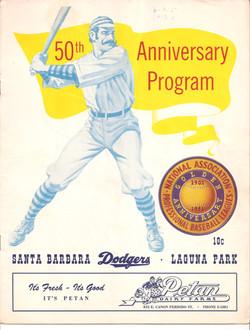 1951 Santa Barbara Dodgers Program