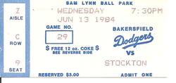 1984 Bakersfield Dodgers Ticket Stub