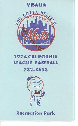 1974 Visalia Mets Schedule