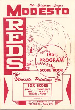 1951 Modesto Reds Program