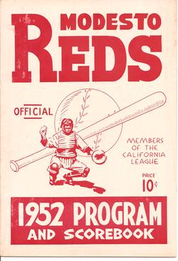 1952 Modesto Reds Program