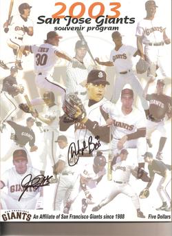 2003 San Jose Giants Program