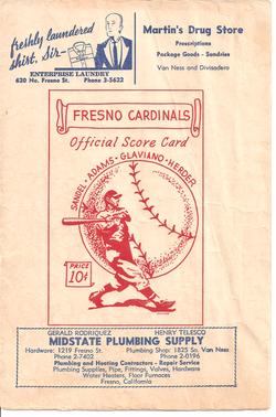 1947 Fresno Cardinals Program