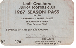 1967 Lodi Crushers Season Pass