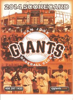 2014 San Jose Giants Scorecard