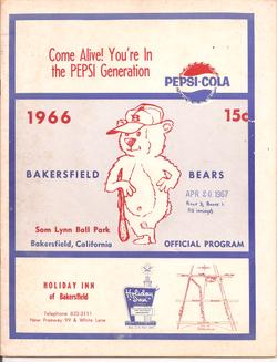1966 Bakersfield Bears Program