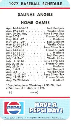 1977 Salinas Angels Schedule