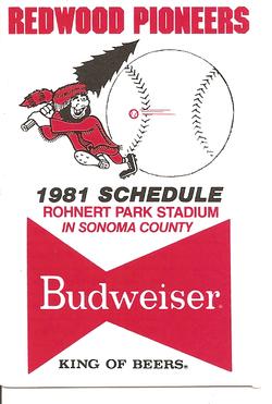 1981 Redwood Pioneers Schedule