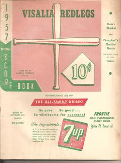1957 Visalia Redlegs Program