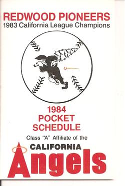 1984 Redwood Pioneers Schedule