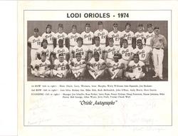 1974 Lodi Orioles Team Photo