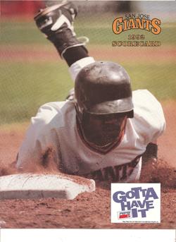 1992 San Jose Giants Scorecard