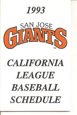 1993 San Jose Giants Schedule