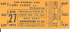 1973 Lodi Lions Ticket Stub