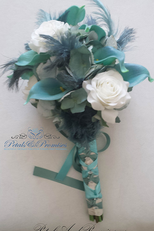 Teal and Ivory Bridal Bouquet with Feathers