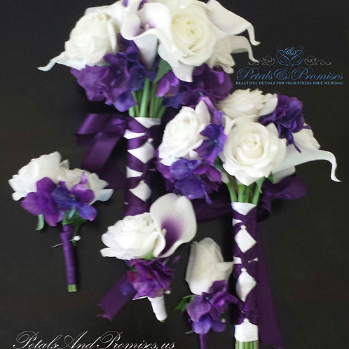 Real Touch Plum and White Boutonnieres