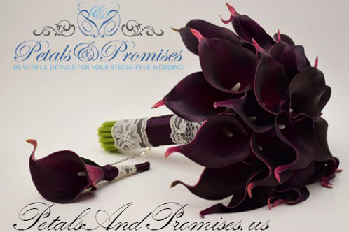 Real Touch Eggplant Calla Lily Bouquet
