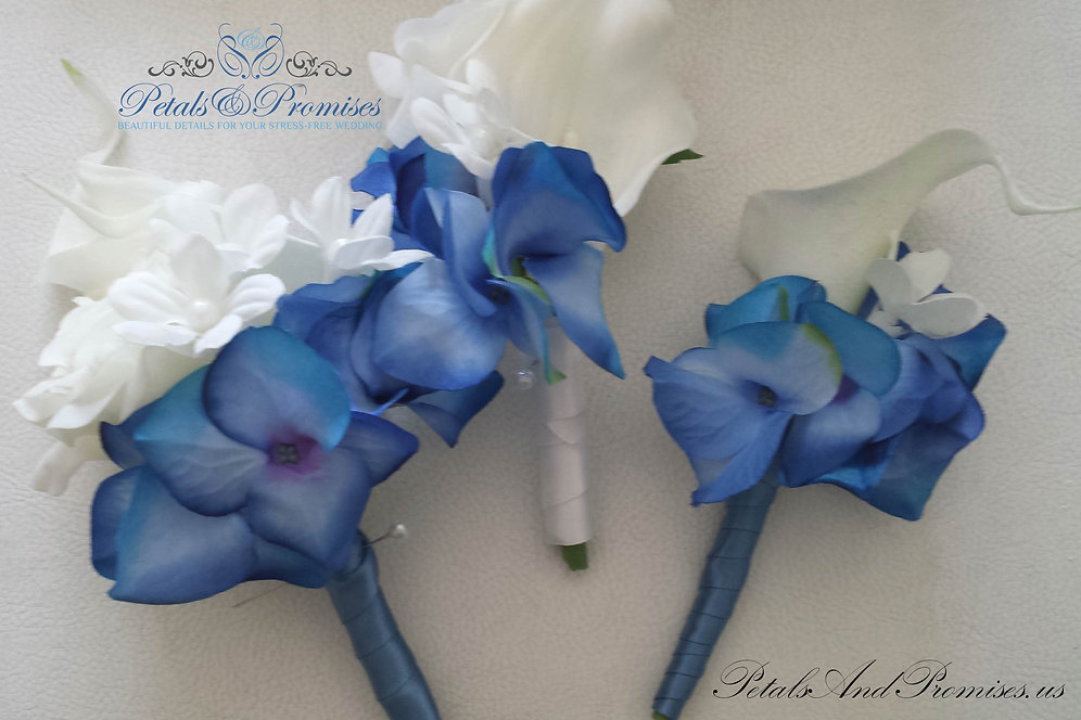 Tropical Blue And White Corsages Petals And Promises