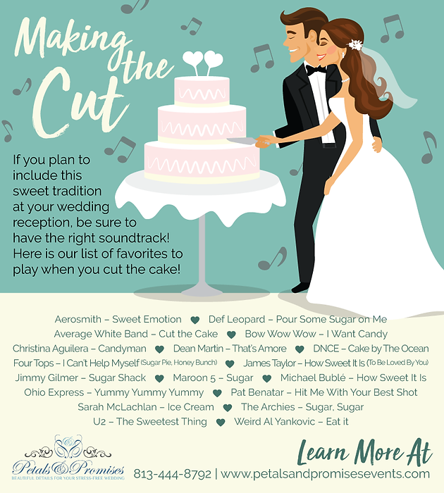 Cake Cutting Songs Tampa Wedding Planner Wedding Packages
