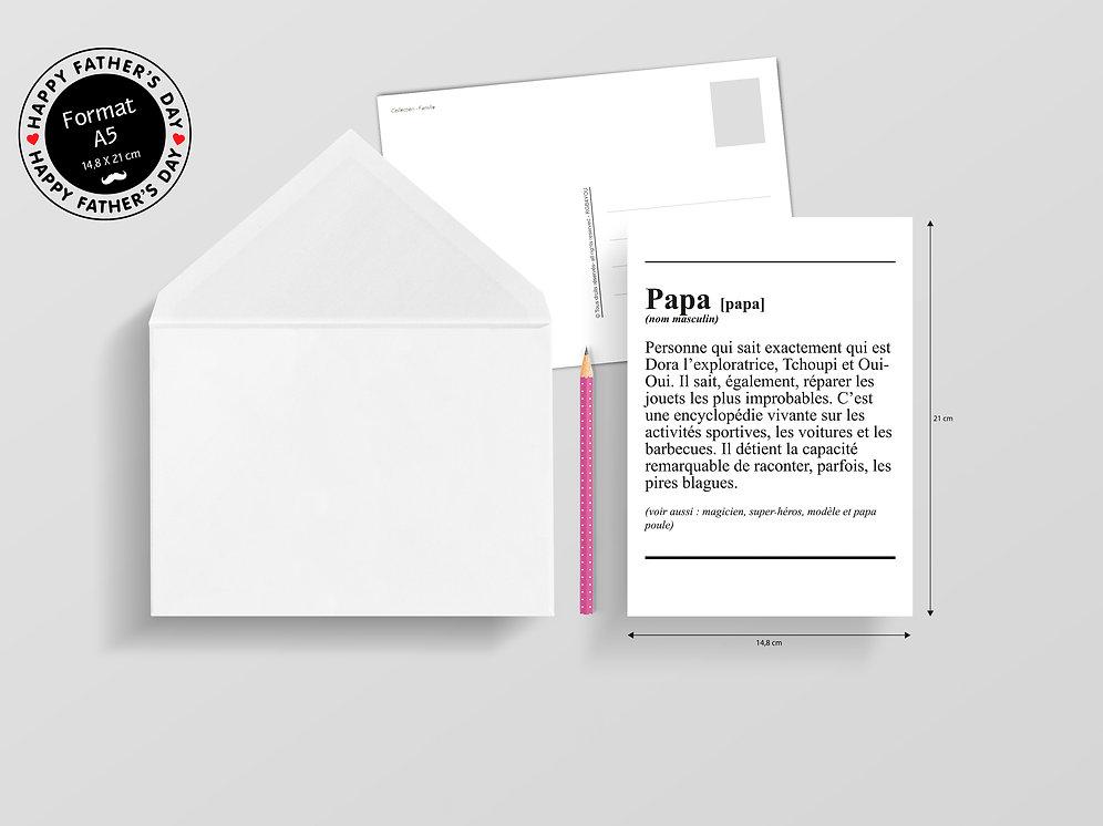 Carte Postale A5 - Famille - Définition Papa   rgbcreation